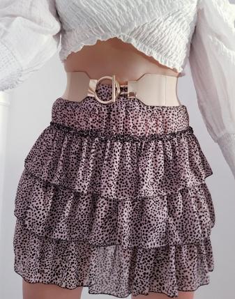 spódniczka mini z falbankami w plamki w kropki