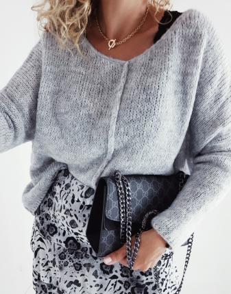 sweter szary oversize