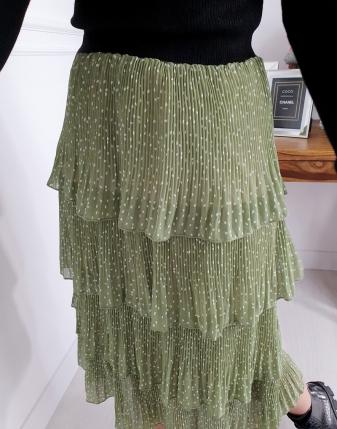 spódnica zielona  w kropki