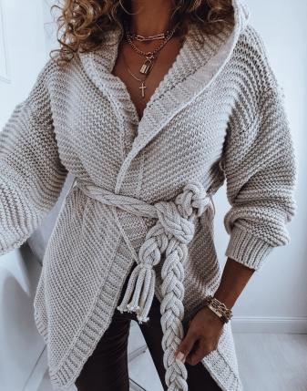 sweter z kapturem beżowy