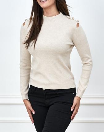 sweterek ecry ozdoba na ramionach