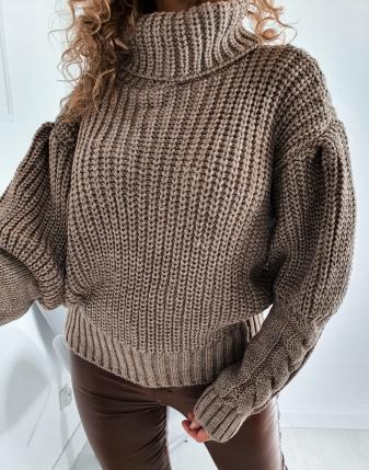 sweter golf gruby mokka