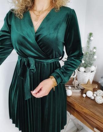 sukienka welurowa zielona