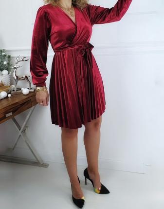 sukienka bordowa welurowa plisowana