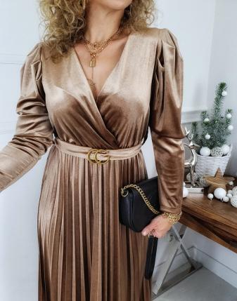 sukienka plisowana velvet złota
