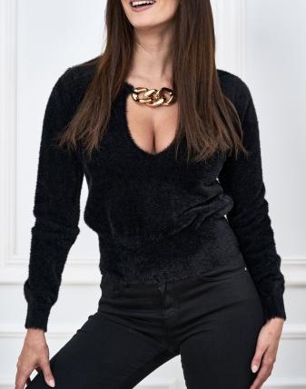 sweterek alpaka czarny  z łańcuchem
