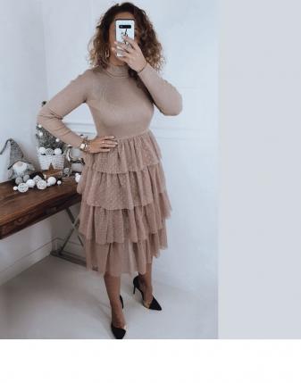 sukienka tiulowa beżowa