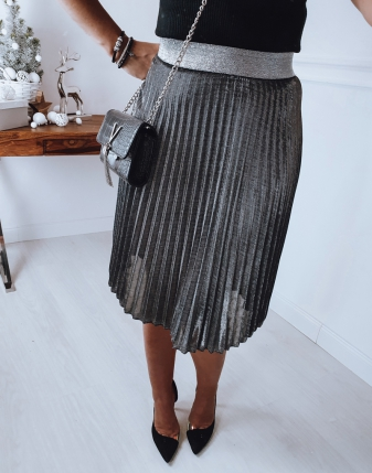 srebrna spódniczka plisowana