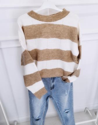 sweter beżowy w paski lamaja