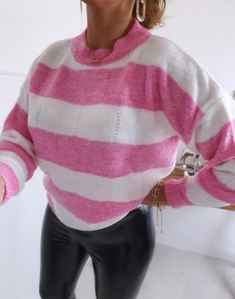 sweter RÓŻOWE w paski lamaja