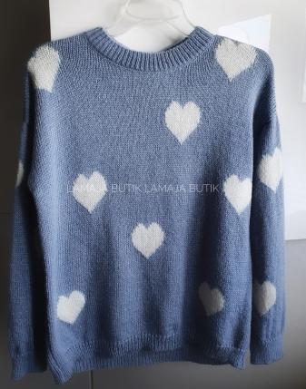 niebieski sweterek jeansowy w serduszka lamaja butik1
