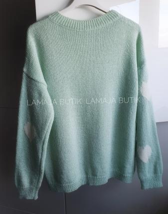miętowy sweterek w serca lamaja butik