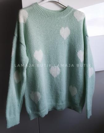 miętowy sweterek w serca lamaja butik 1