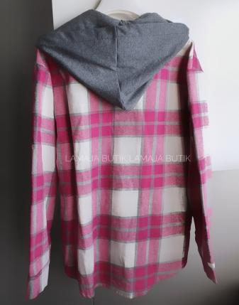 koszula w kratę flanelowa różowa z kapturem lamaja butik
