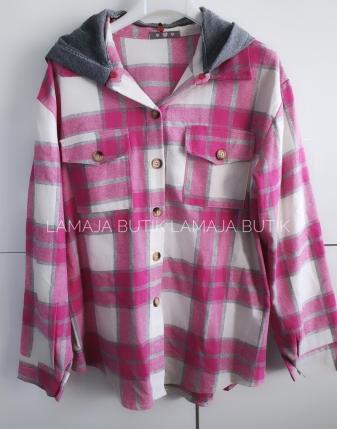 koszula w kratę flanelowa różowa z kapturem lamaja butik1
