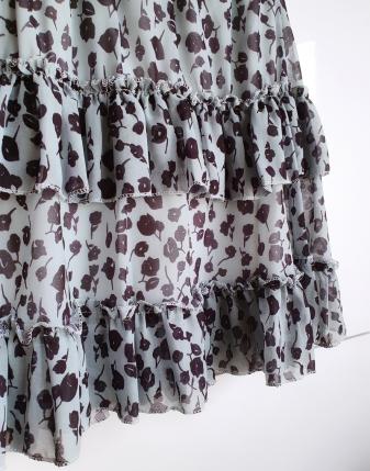 miętowa spódniczka w kwiaty mini lamaja