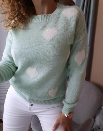 miętowy sweterek w serca lamaja butik 6