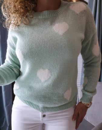 miętowy sweterek w serca lamaja butik 7
