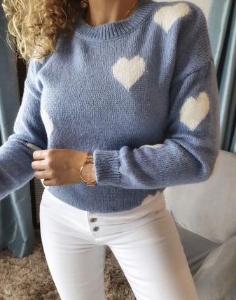 niebieski sweterek jeansowy w serduszka lamaja butik 8
