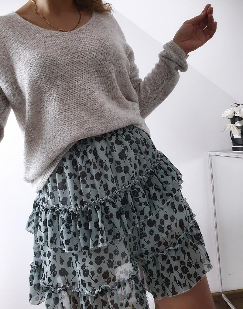 miętowa spódniczka w kwiaty mini lamaja 22
