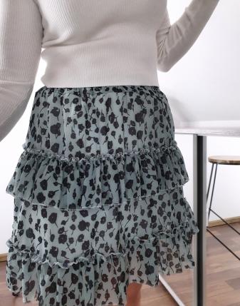 miętowa spódniczka w kwiaty mini lamaja 23