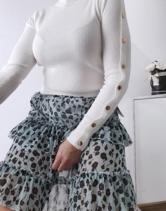 miętowa spódniczka w kwiaty mini lamaja 25