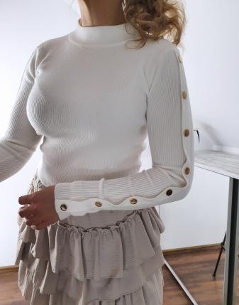biały sweterek z napami 7