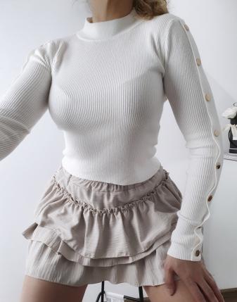 biały sweterek z napami 9
