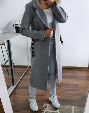długi szary płaszcz