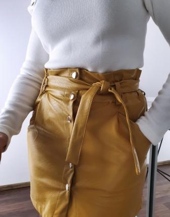 spódniczka żółta  skórzana 2