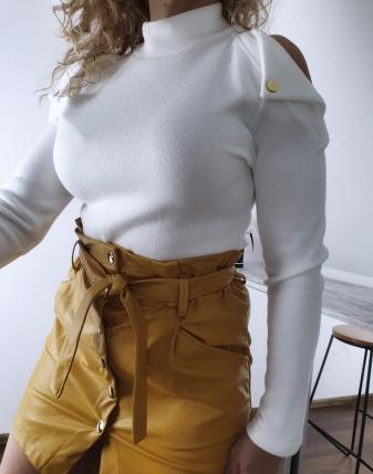 spódniczka żółta  skórzana 4