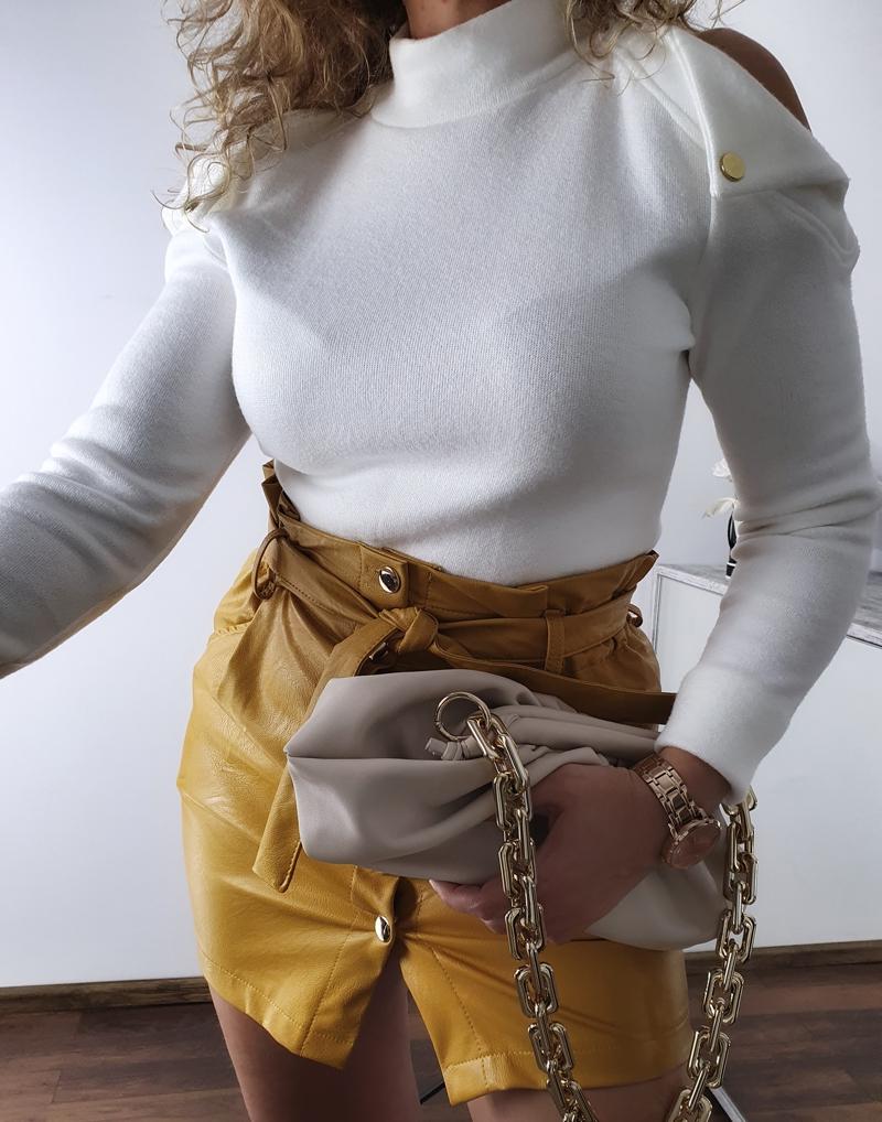 spódniczka żółta  skórzana 5