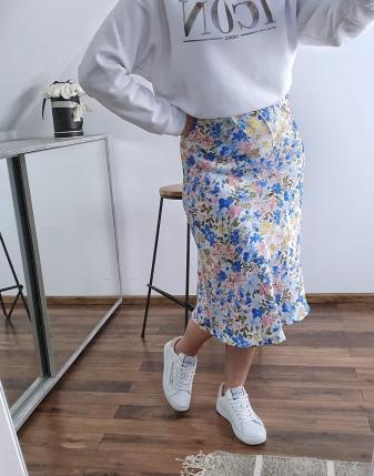 spódnica satynowa w niebieskie kwiatki lamaja  5