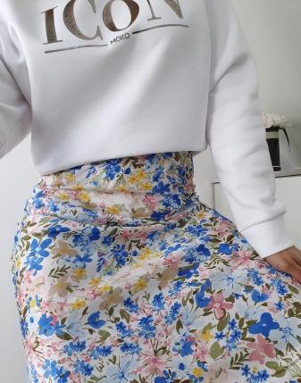 spódnica satynowa w niebieskie kwiatki lamaja  8