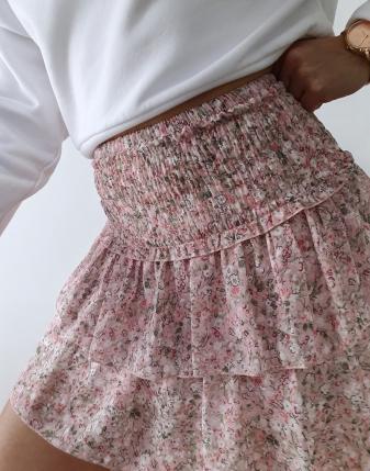 mini spódniczka różowa w kwiatki 3