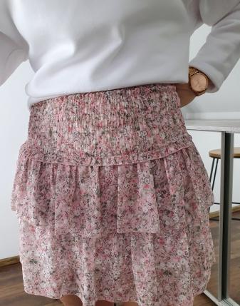 mini spódniczka różowa w kwiatki 4