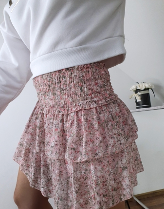 mini spódniczka różowa w kwiatki 7