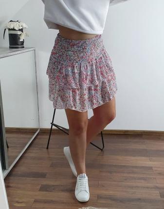 kolorowa spódniczka mini z falbankami 2