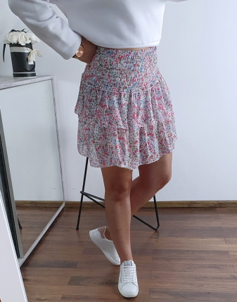 kolorowa spódniczka mini z falbankami 4