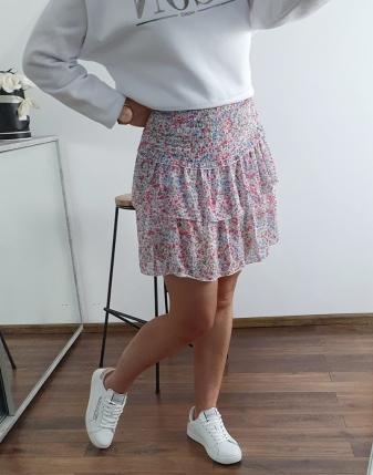 kolorowa spódniczka mini z falbankami 5