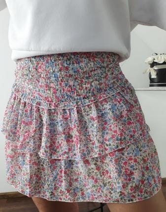 kolorowa spódniczka mini z falbankami 6