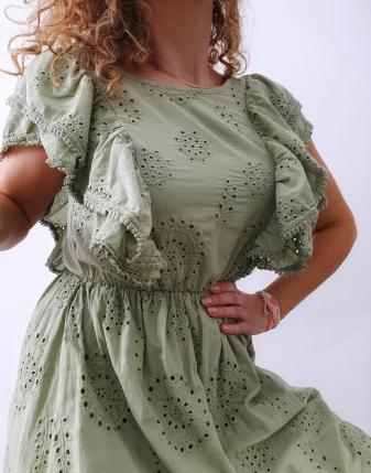 sukienka ażurowa khaki1