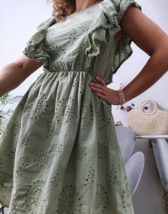 sukienka ażurowa khaki2