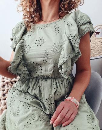 sukienka ażurowa khaki 5