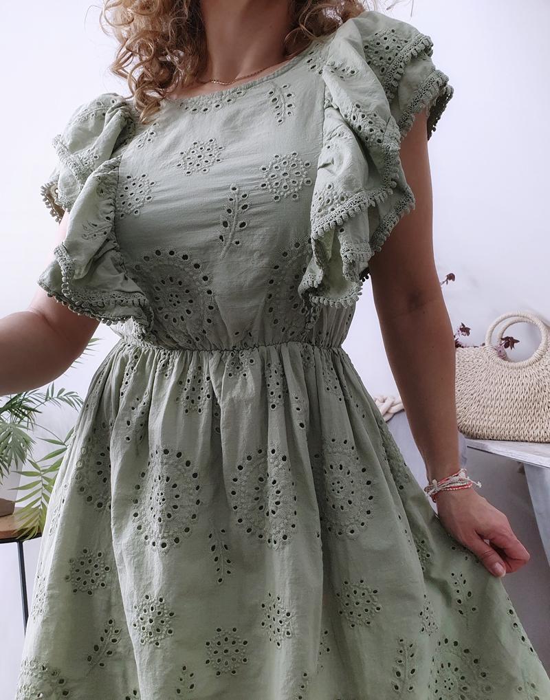 sukienka ażurowa khaki 7