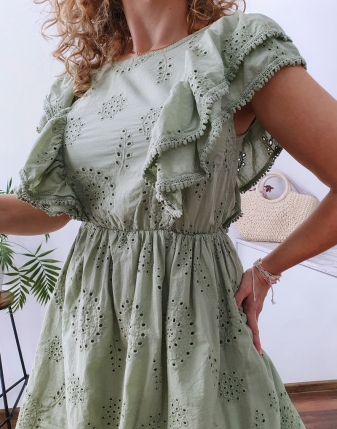 sukienka ażurowa khaki 8