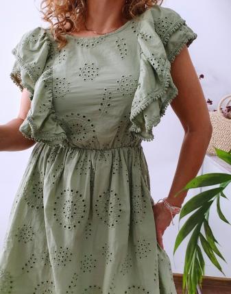 sukienka ażurowa khaki 9
