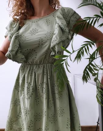 sukienka ażurowa khaki 10
