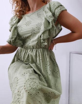 sukienka ażurowa khaki 11