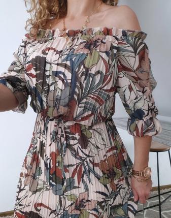 sukienka plisowana w kwiaty i liście 2